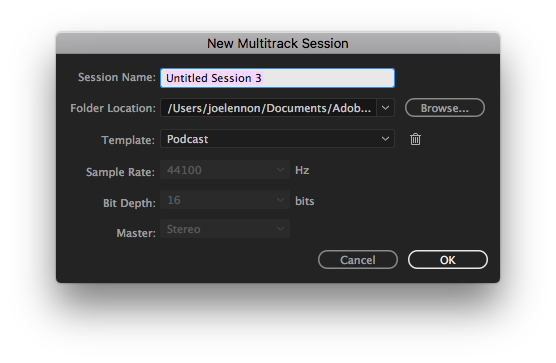 Create a new Multitrack Session